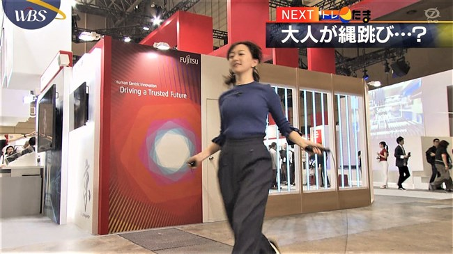 片渕茜~WBSトレンドたまごでのオッパイ強調の縄跳びはエロ過ぎて成人指定!0006shikogin