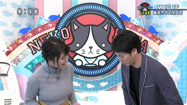 岡村帆奈美~テレビ神奈川の美人アナが目立つようなニット服で視聴者を悩殺!0002shikogin