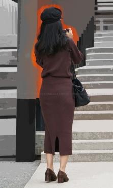 ■ ■vol350-タイトなニットスカートの綺麗なヒップライン