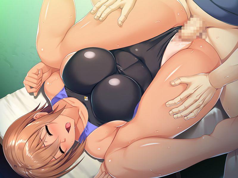【同人CG】日焼け水着美少女のまんぐり返し中出しセックス二次エロ画像【桃尻インストラクター寝取りレッスン〜競泳水着でえろざんまい〜】2.jpg