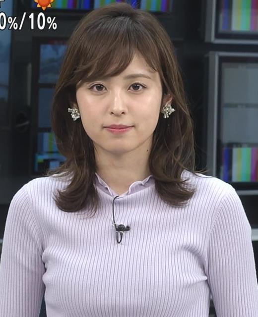 久慈暁子アナ エロかわいいニットおっぱいキャプ画像(エロ・アイコラ画像)