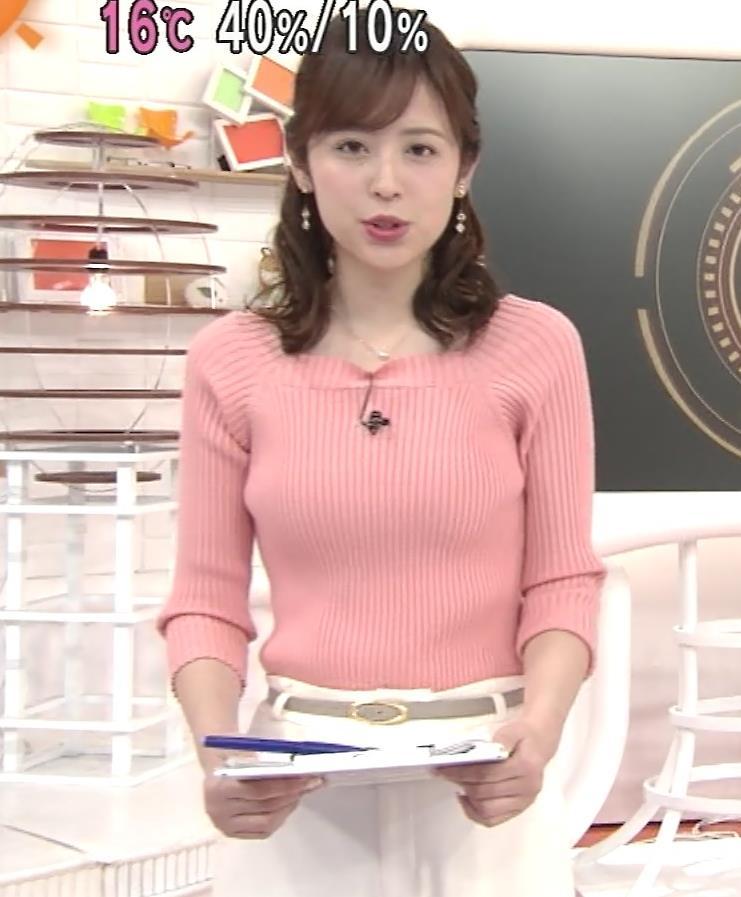 久慈暁子アナ エッチ過ぎなニットおっぱいキャプ・エロ画像2