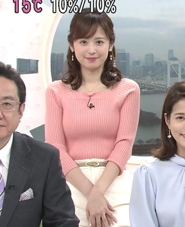 久慈暁子アナ エッチ過ぎなニットおっぱいキャプ・エロ画像3
