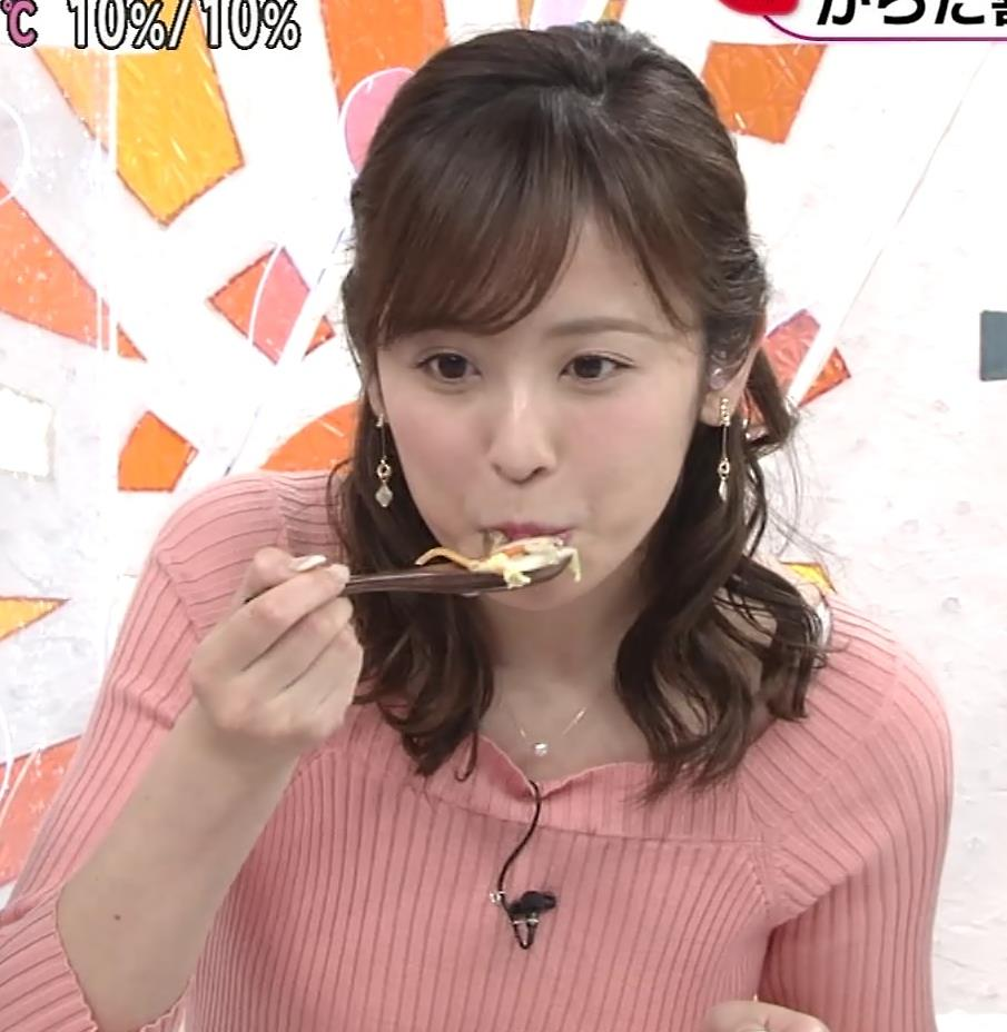 久慈暁子アナ エッチ過ぎなニットおっぱいキャプ・エロ画像5