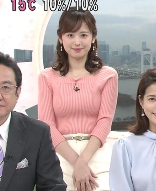 久慈暁子アナ エッチ過ぎなニットおっぱいキャプ画像(エロ・アイコラ画像)