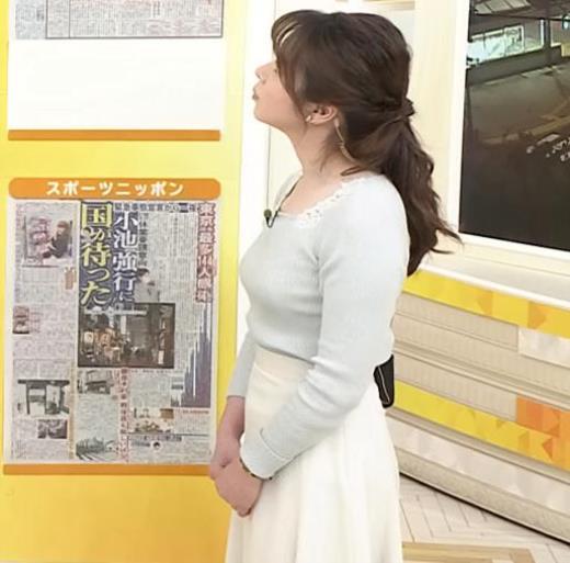 皆川玲奈アナ 朝からエロい横乳キャプ画像(エロ・アイコラ画像)