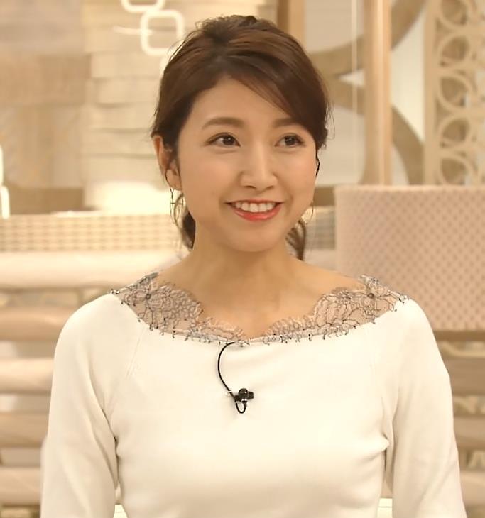 三田友梨佳アナ 新婚さんのピチピチな服キャプ・エロ画像4