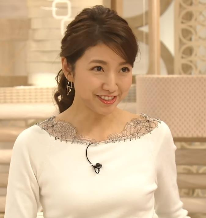 三田友梨佳アナ 新婚さんのピチピチな服キャプ・エロ画像5
