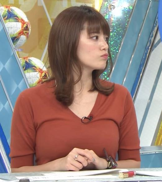 三谷紬アナ 巨乳がピチピチな服キャプ・エロ画像2