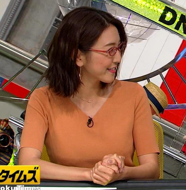 小澤陽子アナ 半袖ニットキャプ・エロ画像