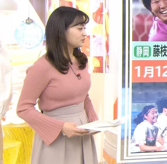 篠原梨菜アナ エッチなニットおっぱいキャプ・エロ画像
