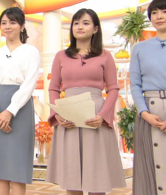 篠原梨菜アナ エッチなニットおっぱいキャプ・エロ画像2