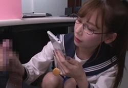 職員室でこっそり誘惑 眼鏡美人セーラー服痴女JK! 明里つむぎ1